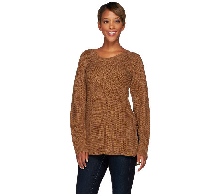 Lisa Rinna Collection Mixed Stitch Sweater with Side Slits