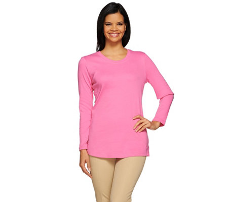 Isaac Mizrahi Live! Essentials Scoop Neck Long Sleeve T-Shirt