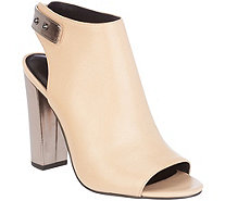 H by Halston Leather Peep-Toe Bootie with Block Heel - Natalie - A273901