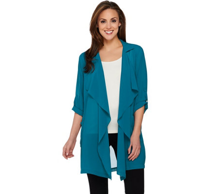 Joan Rivers Soft Crepe Cascade Front Jacket
