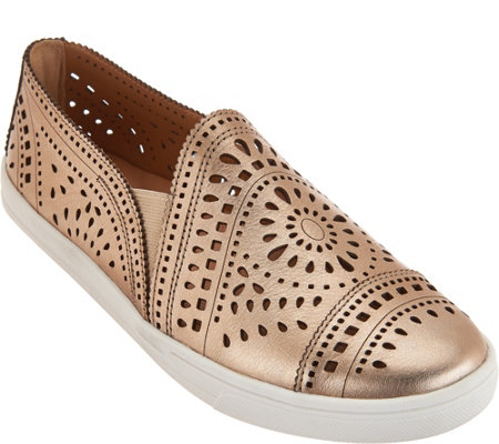 Earth Leather Perforated Slip-on Sneakers - Tangelo