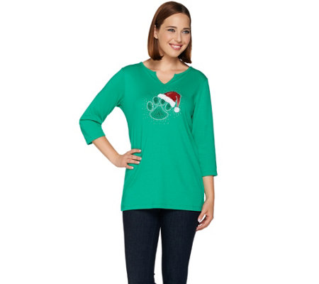 Quacker Factory Holiday Paw Print 3/4 Sleeve T-shirt