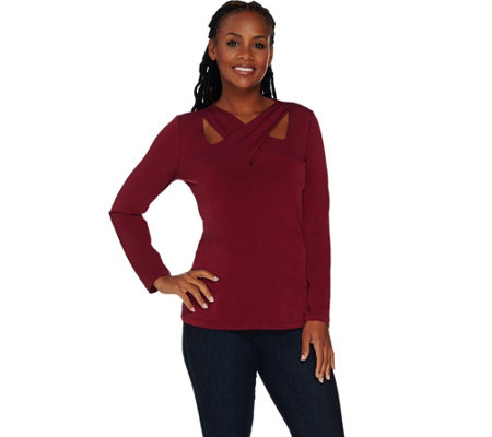 Susan Graver Liquid Knit Crossover Neck Top