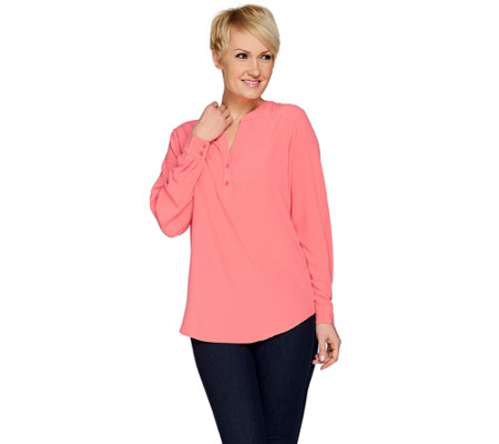"""As Is"" Susan Graver Stretch Woven Y-Neck Long Sleeve Tunic"