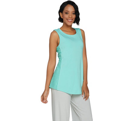 H by Halston Sleeveless Knit Tank w/ Lace Inset Details