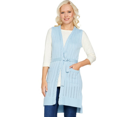 Isaac Mizrahi Live! Pointelle Stitch Sweater Vest with Belt