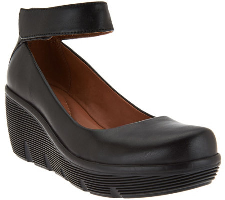"""As Is"" Clarks Artisan Leather Ankle Wrap Wedge Pumps - Clarene Tide"