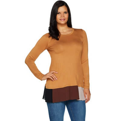 LOGO by Lori Goldstein Solid Knit Top w/ Contrast Pleating