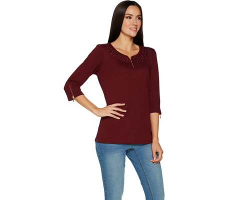 Quacker Factory 3/4 Sleeve Knit Top with Glam Zipper Detail