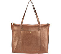 G.I.L.I. Unlined Leather Zip Top Tote - A302701