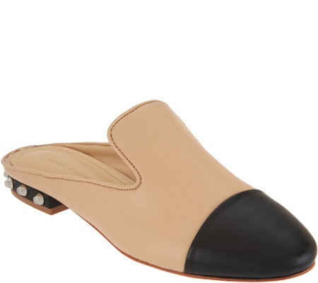 """As Is"" Marc Fisher Leather Pointed Toe Mules with Studs-Analise"