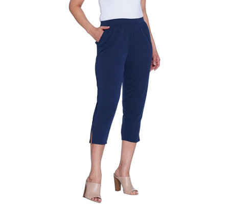 H by Halston Regular Brushed Modal Pull-On Cropped Pants