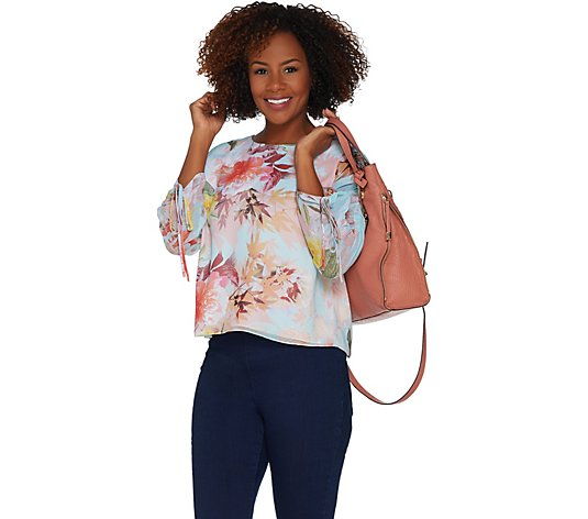 """As Is"" Vince Camuto Drawstring Sleeve Faded Bloom Blouse"