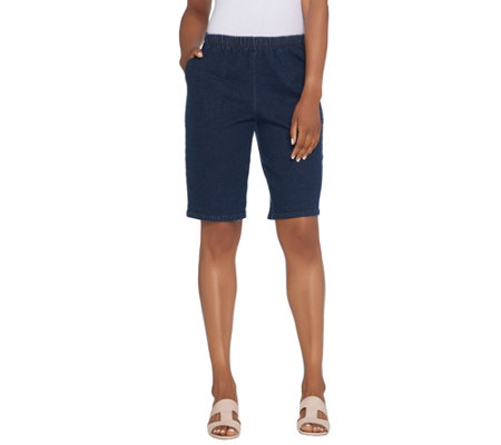 "Denim & Co. 11"" Side Pocket Pull-On Shorts - Indigo"