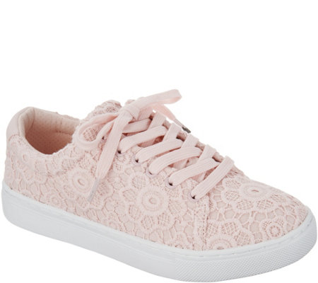 """As Is"" Isaac Mizrahi Live! Crochet Lace-Up Sneakers"