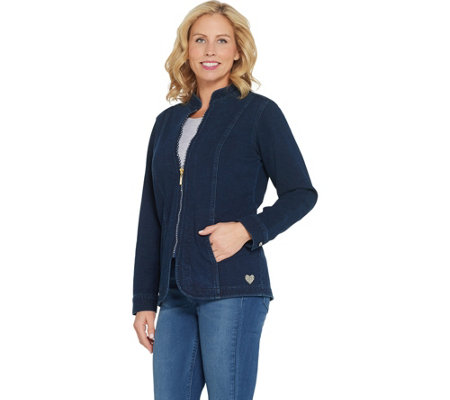 Quacker Factory DreamJeannes Glam Zipper Front Jacket