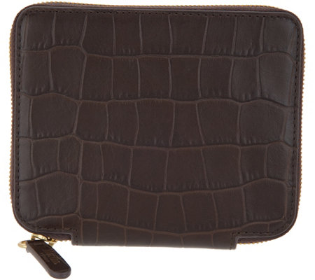 Martha Stewart Croco Embossed Leather Small Zip Wallet
