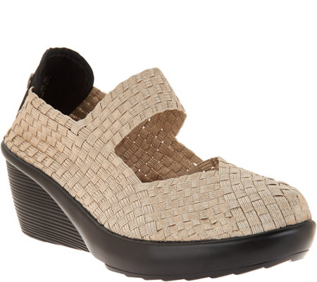 """As Is"" Bernie Mev Basket Weave Wedge Mary Janes- Fresh Lulia"