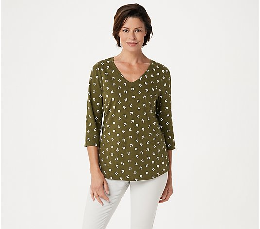 Belle by Kim Gravel TripleLuxe Knit 3/4-Sleeve V-Neck Top