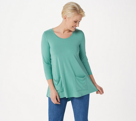 LOGO by Lori Goldstein Rayon 230 Top with Swing Hem
