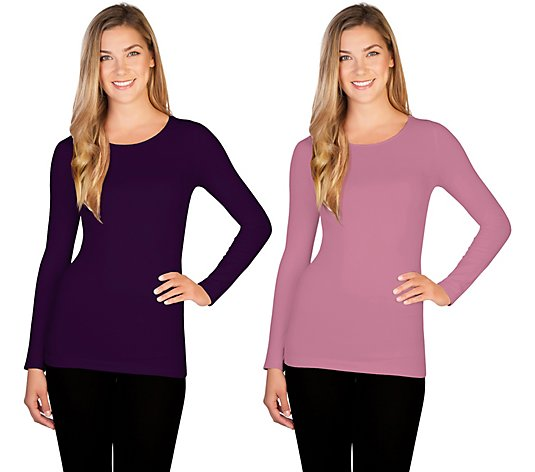 skinnytees Missy Long Sleeve Crew Neck Top Set of 2