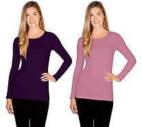 skinnytees Missy Long Sleeve Crew Neck Top Set of 2 - A351601