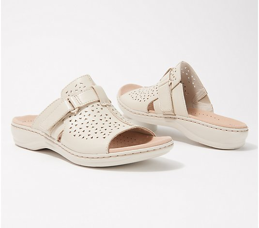 Clarks Collection Leather Slide Sandals - Leisa Fox