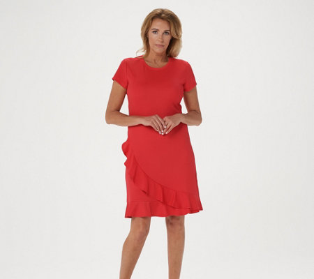 Isaac Mizrahi Live Pebble Knit Ruffle Flounce Wrap Dress