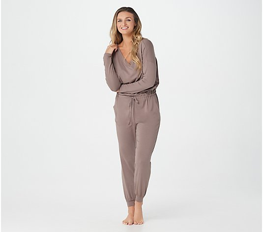 AnyBody Petite Cozy Knit Long-Sleeve Jumpsuit