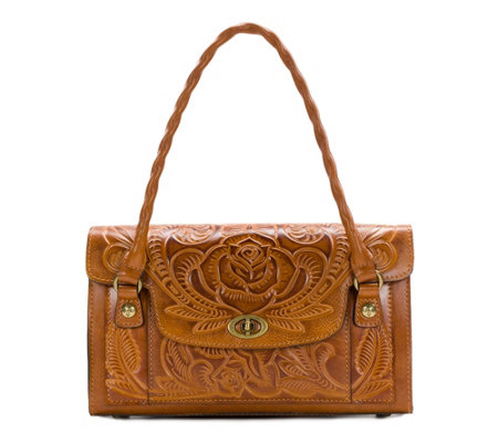 As Is Patricia Nash Leather Burnished Tool Satchel
