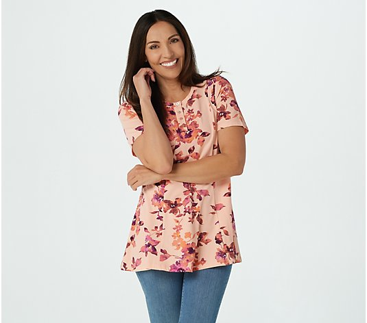 """As Is"" Denim & Co. Regular Printed Jersey Fit & Flare Henley Tunic"