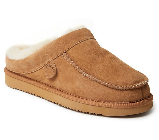 Fireside by Dearfoams Men's Moccasin-Toe Clog Slippers