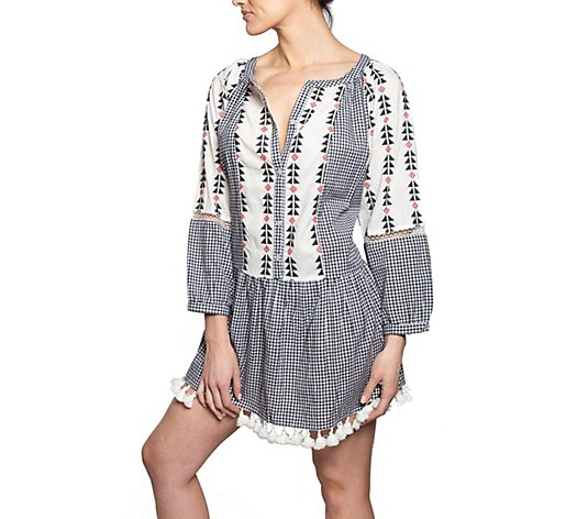 AREA STARS Long Sleeve Gingham Dress with Tassels - Sorrento