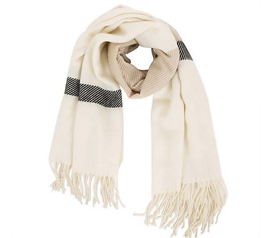 Glitzhome Cookies and Cream Scarf with Fringe