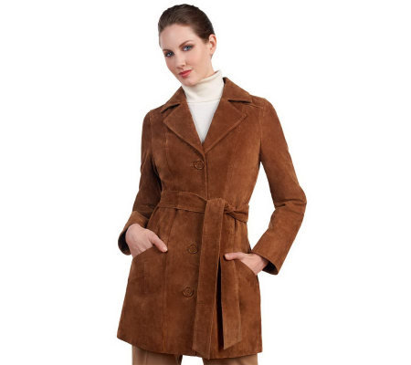 Dennis Basso Washable Suede Trench Coat w/ Removable Belt & Print Lining