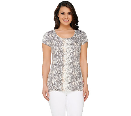 Isaac Mizrahi Live! Colorful Snake Print Knit T-Shirt