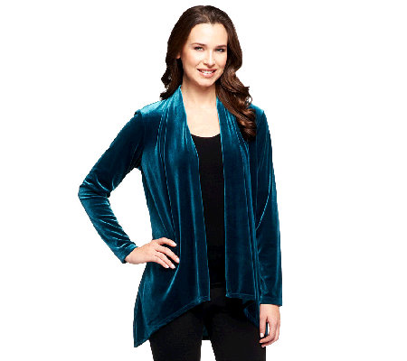 """As Is"" Susan Graver Knit Velvet Long Sleeve Cascade Front Cardigan"