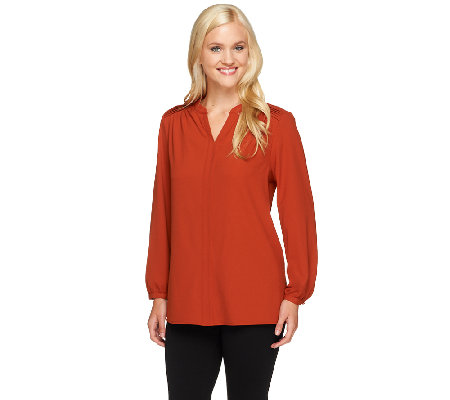 Susan Graver Woven Y-Neck Long Sleeve Top w/ Pleating Detail