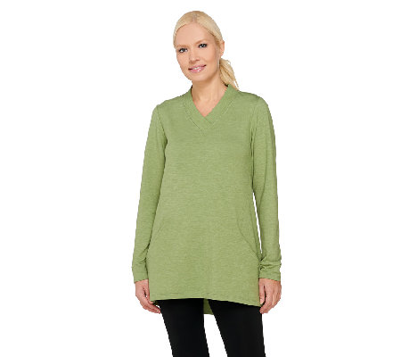 LOGO Lounge by Lori Goldstein French Terry V-neck Tunic with Pockets
