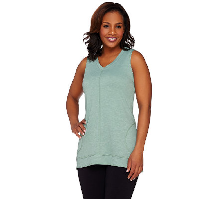 LOGO Lounge by Lori Goldstein Sleeveless V-Neck Top with Seam Pockets