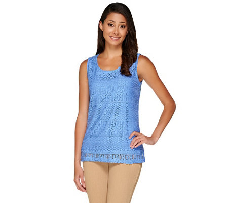 Susan Graver Jacquard Lace U-Neck Sleeveless Top