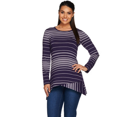 LOGO by Lori Goldstein Long Sleeve Scoop Neck Stripe Knit Top