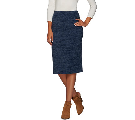 LOGO by Lori Goldstein Pull-On Sweater Knit Column Skirt