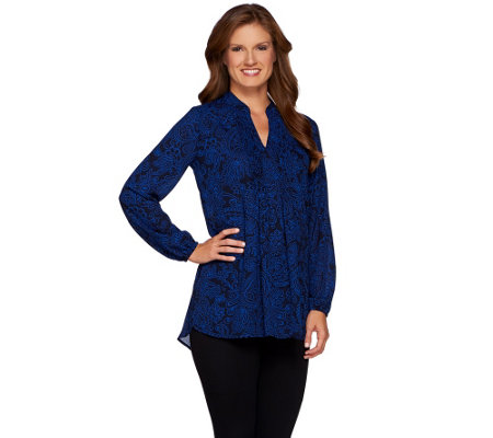 Susan Graver Printed Feather Weave Long Sleeve Tunic with Pintucks