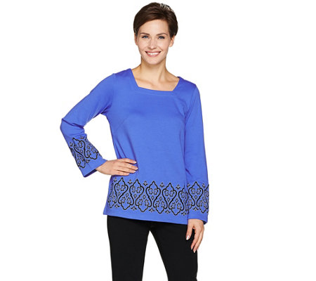 Bob Mackie's Square Neck Embroidered Ponte Knit Top