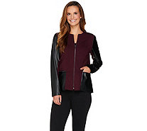 Kelly by Clinton Kelly Ponte Jacket with Faux Leather Detail - A283502