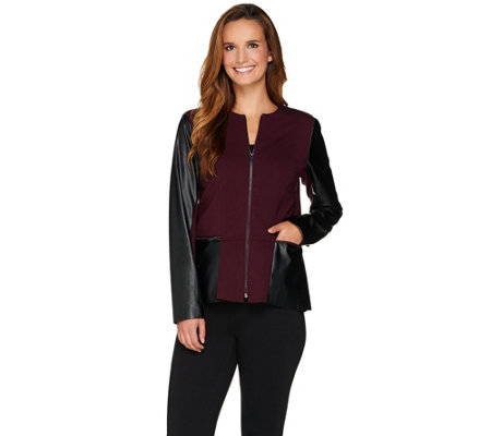 Kelly by Clinton Kelly Ponte Jacket with Faux Leather Detail
