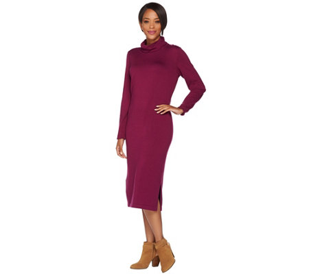 Isaac Mizrahi Live! Turtleneck Midi Length Sweater Dress