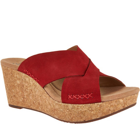 Clarks Leather Cross Band Wedge Slides - Annadel Danae