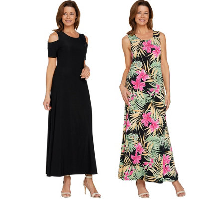Attitudes by Renee Regular Solid & Printed Set of 2 Dresses
